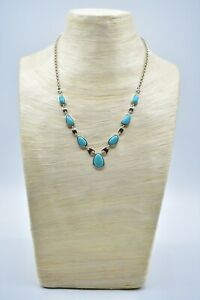 WHITNEY KELLY WK 925 China Sterling Silver Turquoise Necklace Collar Signed Bin3