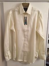 Marks & Spencer M&S Collection Ivory Shirt Performance Pure Cotton Non Iron 14.5