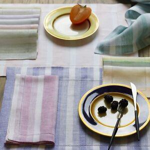 NEW Sferra ASCOT Dinner Napkins Herringbone Stripe NUTMEG White Linen SET of 4