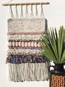 HandWoven Tapestry, Boho Wall Hanging, Nursery Kilim Home Decor, Neutral Weaving