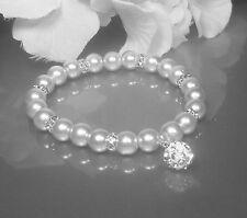 Funkelndes Perlen Armband weiß  Shamballa Perle Strass Rondelle NEU