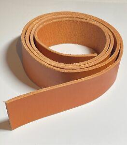 "7/8 oz Veg Tanned Natural Leather Belt Blanks 60"" Length 1.5"" Width"