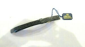 Seiki gray / black pebbled leather replacement watch band 9mm