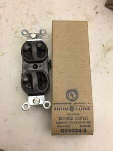 General Electric NOS DOUBLE OUTLETS GE4024-1 15A / 125v BROWN D1