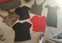 Lot of 6 Heart Hips Button Front Crop Top Dress Rubbed White Tank Shirts Large