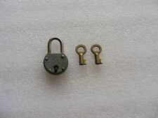 VINTAGE ANTIQUE IRON PADLOCK  SMALL WITH ORIGINAL 2 BRASS  KEYS