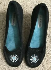 STEVE MADDEN WOMENS LOAFERS HEELS MOCCASIN Black SUEDE LEATHER SHOES SIZE 9