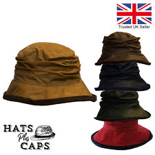 Ladies British Waxed Cotton Cloche Diana Hat Water Repellent Country Wax Rain