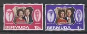 BERMUDA 1972 Royal Silver Wedding/QE II & Philip 25th Anniv SG 291/2 MNH ROYALTY