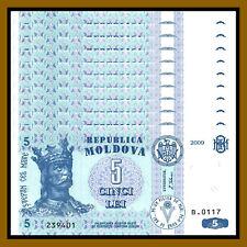 Moldova 5 Lei x 100 Pcs Bundle, 2009 P-9f Unc