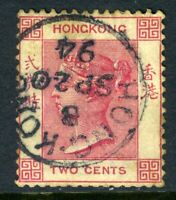 China 1882 Hong Kong 2¢ Rose Pink QV Wmk CCA  SG #32A VFU J811 ⭐⭐⭐⭐⭐⭐