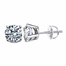 D/VVS1 Diamond Solitaire Women's Stud Earrings 14K White Gold - 0.50 Ct