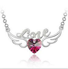 Womens Heart Hot Pink Crystal Rhinestone Silver Chain Pendant Necklace Luxury