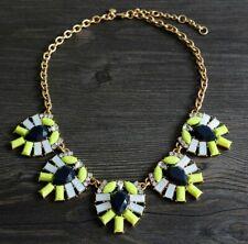 J Crew Yellow & Navy Stone & Crystal Flower Statement Collar Necklace