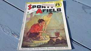 Sports Afield August 1934 Fishing & Hunting Magazine Normand Saunders Cover Art