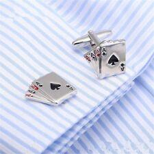 Four Aces Poker Jewelry Cufflinks Enamel Alloy Cuff Link Mens Wedding Gift