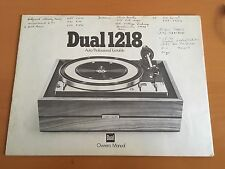 Dual 1218 Turntable Owner's Operating Instructions Manual Factory Original Rare!