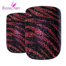 False Nails Glitter Red Black French Manicure Bling Art Fake Medium Tips 2g Glue