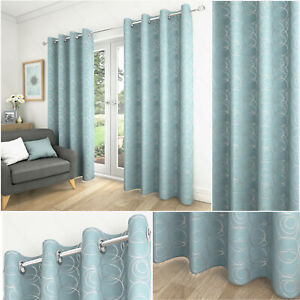 Duck Egg Blue Geometric Saturn Swirl Lined Eyelet Top Ring Top Curtains Pair