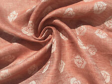 "60"" Dusty Red & White Double Sided Rose 100% Linen Medium Weight Fabric"