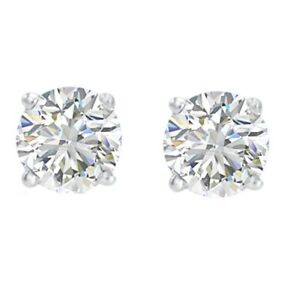 1/3ct TW Round REAL Diamond Stud Earrings in 14K White or Yellow Gold