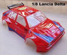 Carrozzeria 1/8 Lancia Delta HF + Adesivi + Alettone da verniciare Rally Games G