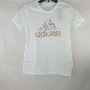 Adidas Women's Cotton Metallic Logo T-Shirt White M   WS-457