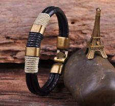 G37 Bronze Clasp New Surfer 4mm Leather Hemp Men Wristband Bracelet Cuff Black