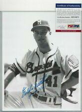 Eddie Mathews Original Brace Autographed 8x10 Baseball Photo PSA Milwaukee