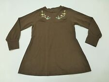 Gymboree Girls Size 6 Brown Long Embroidered Shirt Great Condition