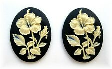 2 IVORY color HIBISCUS FLOWER on BLACK 40mm x 30mm Costume Jewelry Craft CAMEOS