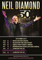 "NEIL DIAMOND ""50 ANNIVERSARY WORLD TOUR"" U.K. OCTOBER 2017 CONCERT POSTER"