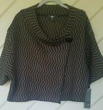 Mossimo Women's Sweater Wrap Poncho Brown Black ZigZag Button NWT Size XL