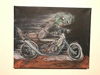 GUS FINK art ORIGINAL painting outsider lowbrow Comix 60s MOTORCYCLE MONSTER