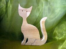 Katze aus Buchenholz Buche Holz / Basteln / Dekoration / Holzfigur