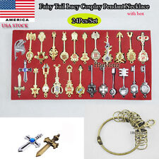 24pcs/set Anime Fairy Tail Lucy Cosplay Keys Necklace Pendant Keychain with box