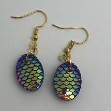 Mermaid Egg / Dragon Egg Scales Gold Plt Charm Earrings Red AB I030