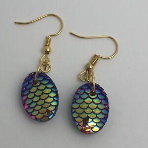 Mermaid Egg / Dragon Egg Scales Gold Plt Charm Earrings Red AB I030