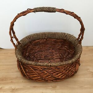 Vintage Oval Wooden Basket Well Made With Handle Beautiful Fruits