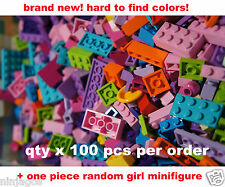 LEGO 100+ Pcs from Huge Bulk Lot FRIEND'S Color w/ 1 Girl Minifigure - Brand New