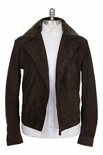 Ermenegildo Zegna 100% Leather 38US/48EU Men's Short Zipper Flight Jacket Brown