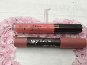 Boots No7 High Shine Lip Gloss Pink Slip .& High Shine Lip Crayon FREEPOST