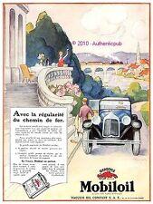 PUBLICITE MOBILOIL GARGOYLE HUILE CHEMIN DE FER DE 1928 ORIGINAL FRENCH AD CAR