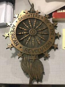 Antique Daughters Of The American Revolution Metal DAR Grave Marker RARE