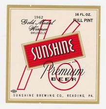 Sunshine Premium Beer 1962 Gold Medal Winner Beer Label