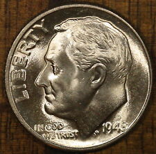 1948 D Roosevelt Dime FULL BANDS ! CH BU LUSTER! 90% Silver US Coin