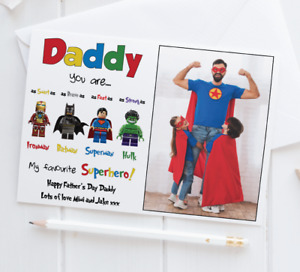 Personalised Photo Fathers Day Card • Superhero Father's Day Card • Daddy • Dad