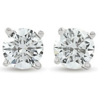 Certified Diamond Studs 1/4 - 2 CT with Screw Backs in 14k White or Yellow Gold