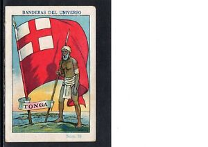 VERY EARLY TONGA PATRIOTIC TRADE CARD,  SOLDIER AND FLAG, SCARCE CARD