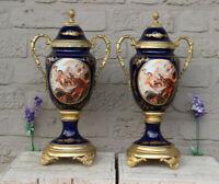 PAIR FLanders  cobalt blue porcelain Romantic decor Vases marked
